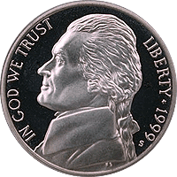 1999 S Jefferson Nickel Proof