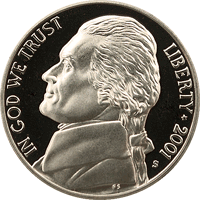 2001 P Jefferson Nickel