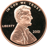 2001 S Lincoln Penny Proof