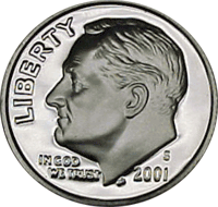 2001 S Roosevelt Dime Proof