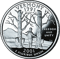 2001 S Vermont State Quarter Proof