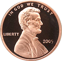 2005 S Lincoln Penny Proof